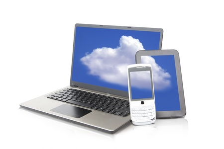 Shot of mobile device consists of laptop computer, mobile phone, and tablet Stock Photo - 14683642