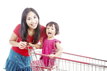 Portrait of smiling mother with her daughter in the shopping cart photo