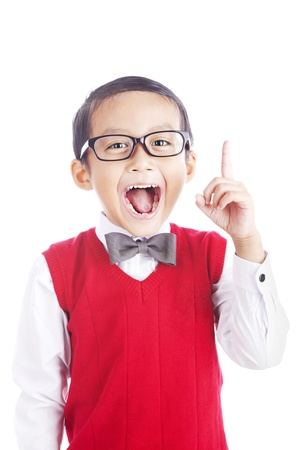 geek: Portrait of asian schoolboy raising his hand to convey his idea - isolated on white