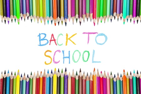 Brightly colored crayon border with text of back to school photo