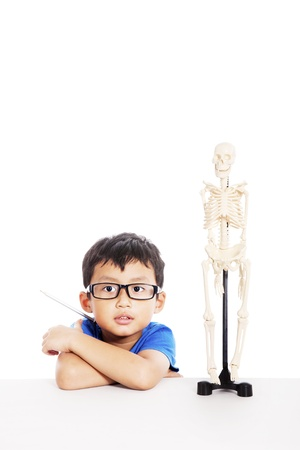 Smart Asian boy with glasses and human skeleton model isolated on white  photo