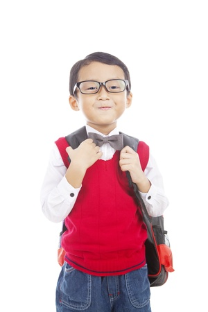 nerd glasses: Portrait of 5 years old boy ready to school isolated on white Stock Photo