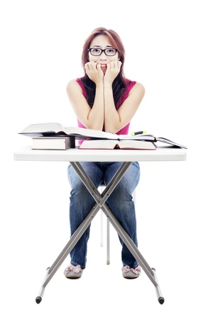 Portrait of scared female college student to do her exams. shot in studio isolated on white  photo