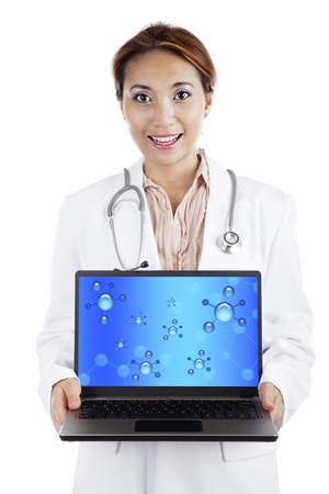 Young female scientist showing samples of dna on laptop computer. isolated on white photo