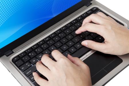 ultrabook: Closeup of hands typing on ultrabook laptop computer Stock Photo