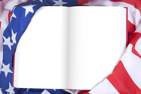 Blank pages of USA book with flag of USA photo