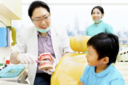 Portrait of male dentist showing the right way to brush and keep the dental hygienist to little boy photo