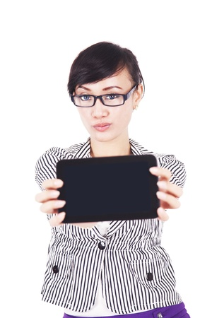 Asian woman showing blank screen of portable tablet  isolated on white Stock Photo - 14996452