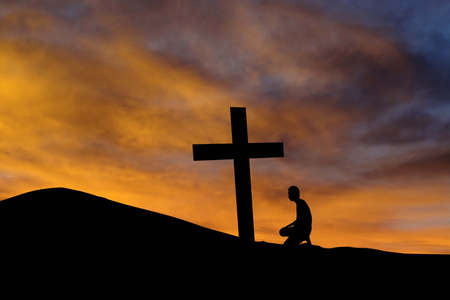worshiper: Dramatic sky scenery with a mountain cross and a worshiper