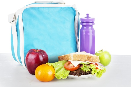 lunch break: Closeup of a packed school lunch for child. shot in studio