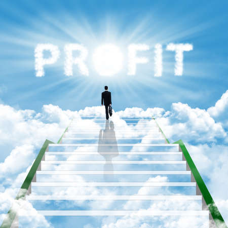 profiting: Illustrazione di un passo verso l'alto uomo d'affari sulla scala per ottenere alto profitto aziendale Archivio Fotografico