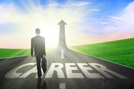 Businessman walking on a great career path Stock Photo - 15071397