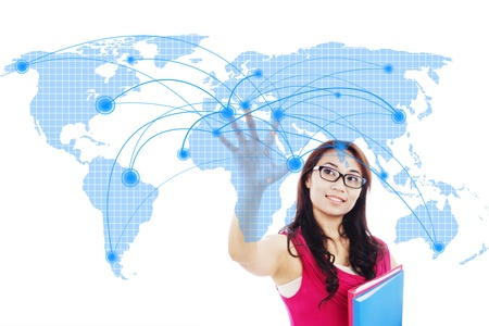 worldwide web: Portrait of female college student with global networking design Stock Photo