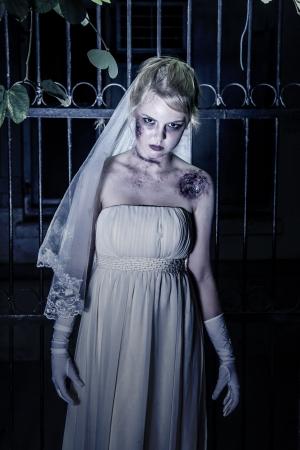 daunting: Halloween: Horror scene of a corpse bride standing