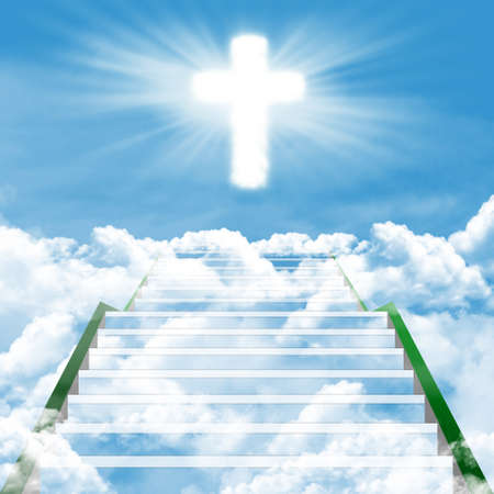 Illustration of a long, stairway leading to the heaven illustration