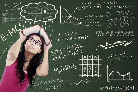 student: Confused college student with formulas on the blackboard and covering her head by textbook. shot at class