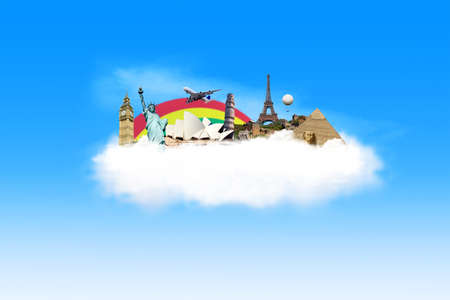Illustration of travel destination with famous monument around the world on the cloud  illustration
