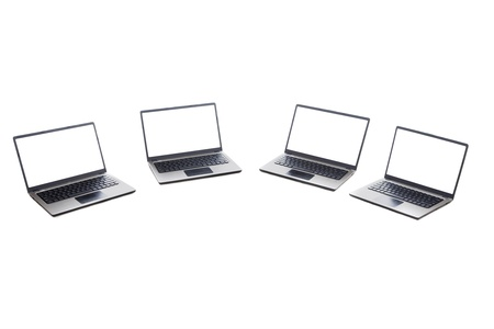 ultrabook: Computer network concept: ultrabook computer laptop isolated on white background