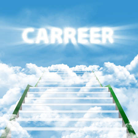 Illustration of stairway with text of CAREER  symbolising of the stairway to high career illustration