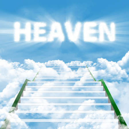 Illustration of a long ladder leading upward to heaven