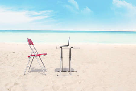 Outdoor office at the tropical beach  shot during summer time photo
