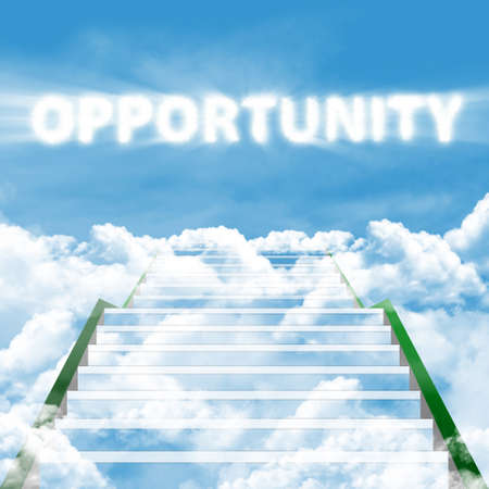 leeway: Illustration of a ladder leading up to high opportunity Stock Photo