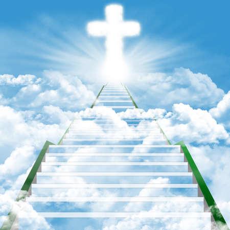 himlen: Illustration av en stege som leder uppåt till himlen Stockfoto