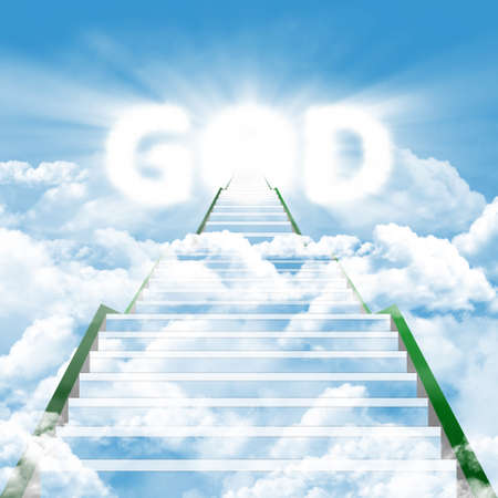 word of god: Illustration of a long ladder leading upward to meet by the GOD Stock Photo