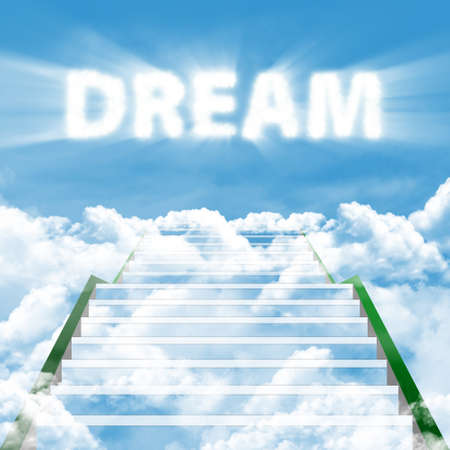 intention: Illustration of a ladder leading upward to realize high dream Stock Photo