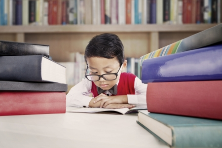 Portrait of asian elementary school student studying in the library photo