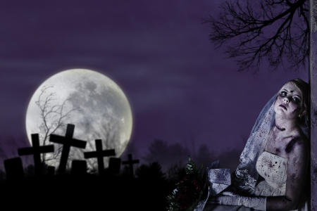 spooky house: Halloween theme: Horror scene of corpse bride with copy space Stock Photo