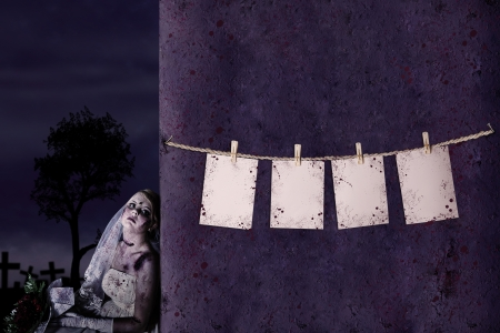 daunting: Halloween pricing tags hanging on the rope with zombie bride