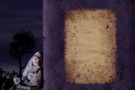 Halloween poster background with copyspace and zombie bride photo