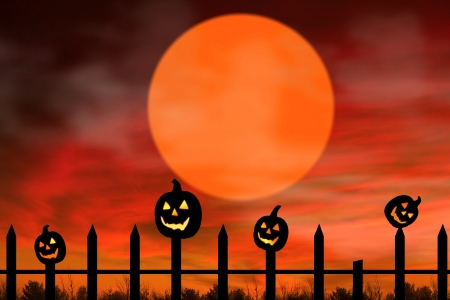 Halloween background with three black pumpkins on the fence glowing. Stock Photo - 15390512