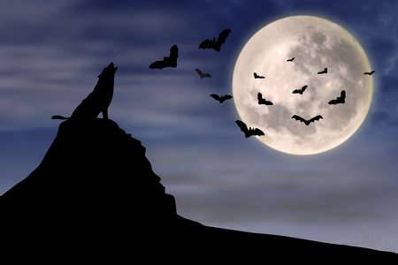 Halloween background with the wolf howls of moon and flying bats photo