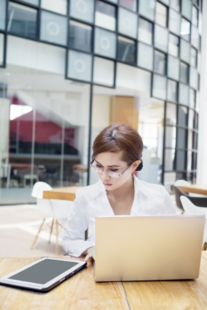 Portrait of businesswoman working with laptop computer and digital tablet. shot at cafe Stock Photo - 15474279