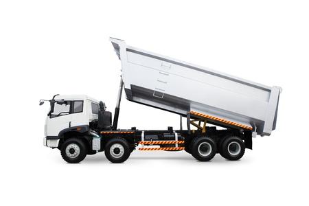 çöplük: Beyaz arka plan üzerinde izole bir damperli kamyon Stok Fotoğraf