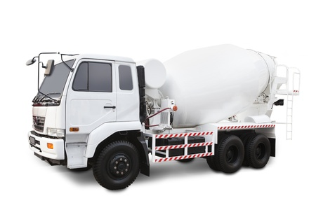 Concrete mixer truck isolated on white background photo