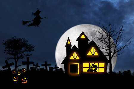 Scary halloween night with witch flying over a witch house and pumpkins on the graveyard photo