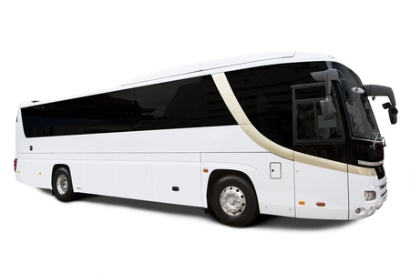 Bus travel isolated over white bringing tourists photo