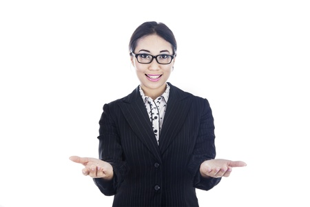 indonesian: Businesswoman showing two hands by means of giving two options Stock Photo