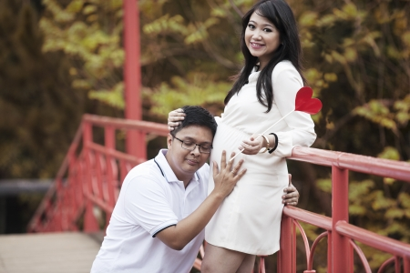unborn: Happy Asian couple excited to see the unborn child