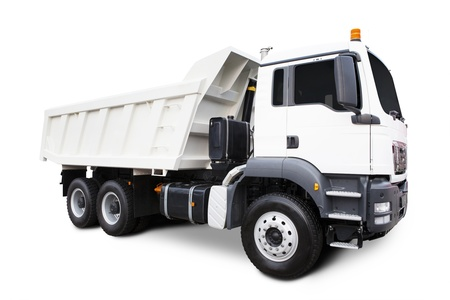 A Big White Dump Truck Isolated on White photo