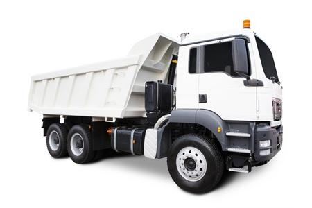 camion volteo: Un gran cami�n volquete blanco aislado en blanco