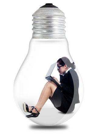 Portrait of asian businesswoman working seriously in a lamp Stock Photo - 16011262