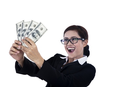 A businesswoman is excited because she just made some money photo