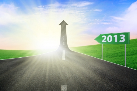 new years resolution: Road sign showing 2013 path way upward