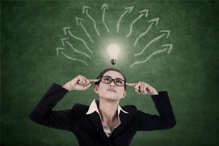 mind map: Businesswoman is searching for ideas with bright light bulb and arrows to represent mind map