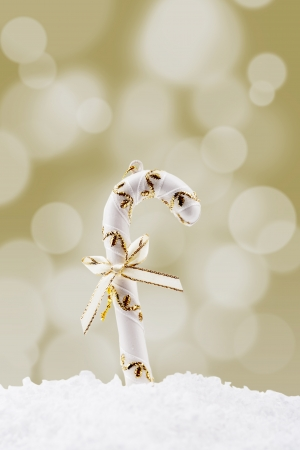 Christmas candy cane on the snow with bow and golden christmas light background Stock Photo - 16149503
