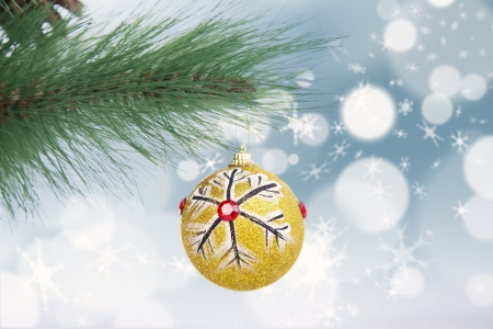 Golden christmas ball decoration hanging on pine tree with snowflakes background Stock Photo - 16149529
